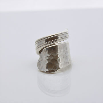 Hammer Toned Antique Silver Wrap Around Ring (Size R)