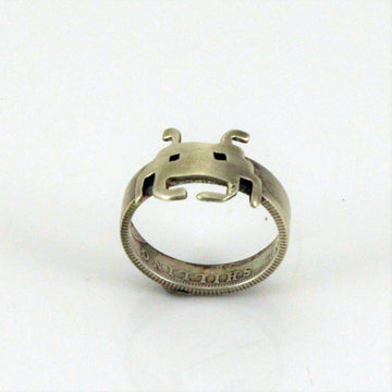 Space Invaders Ring made from Australian Silver Coins