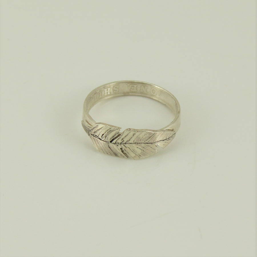 Feather Ring made from Australian Silver Coins
