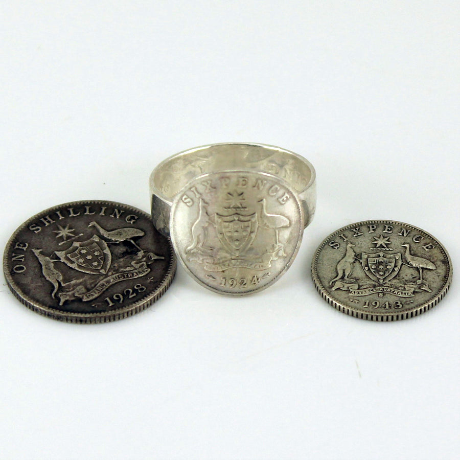 Six Pence ring made from Australian Silver Coins