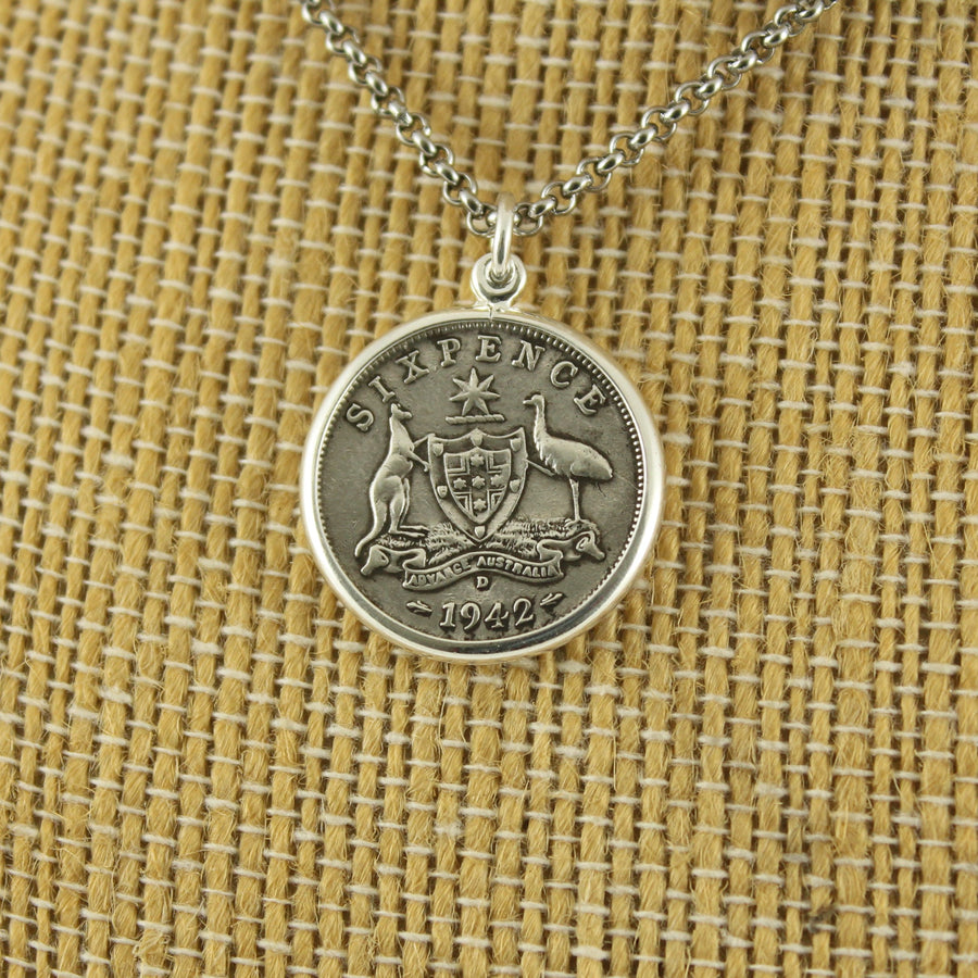 Australian 6 Pence Pendant with chain