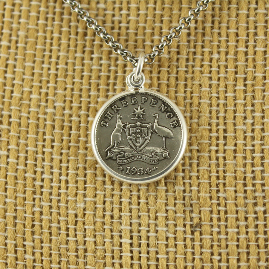 Australian 3 Pence Pendant with chain