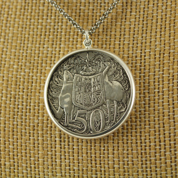 Australian Round 50c Pendant with chain