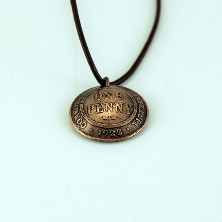 One Penny Pendant with leather cord