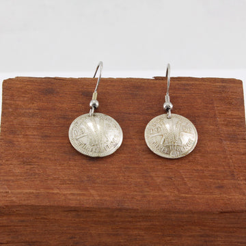 Three Pence Dangly Coin Earrings