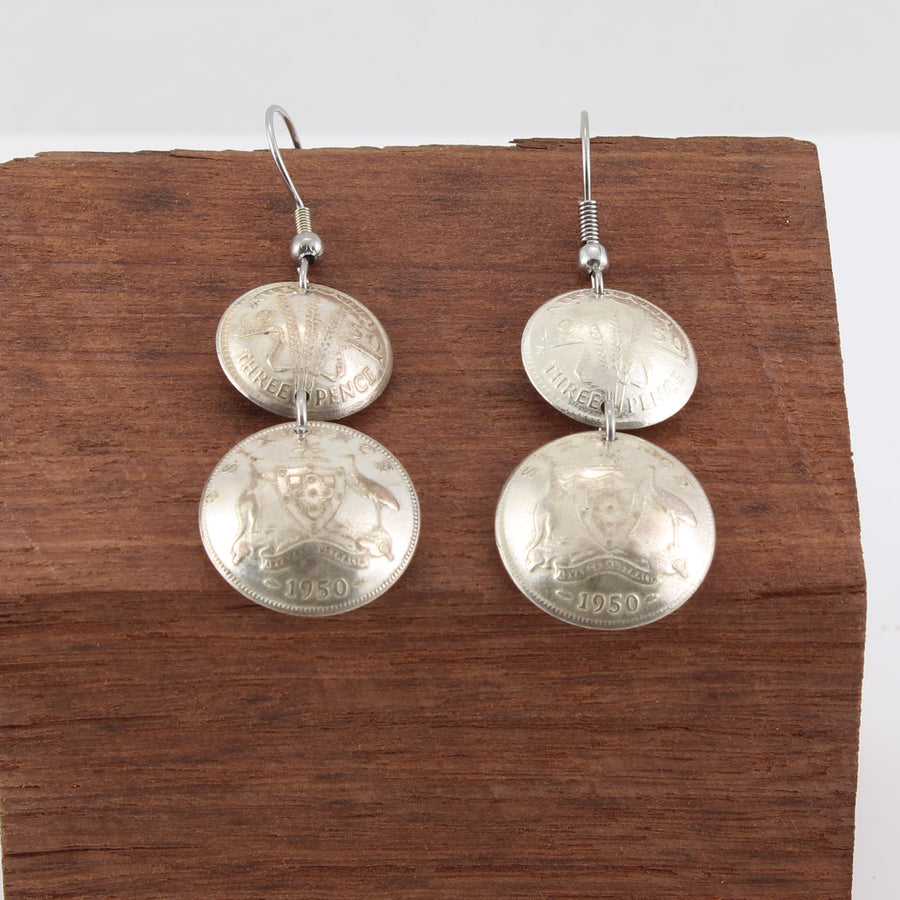 Six and Three Pence Dangly Coin Earrings