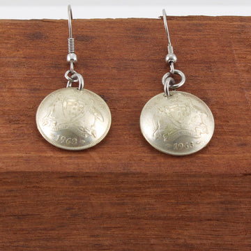 Six Pence Dangly Coin Earrings