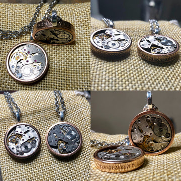 Timeless coin steampunk pendant