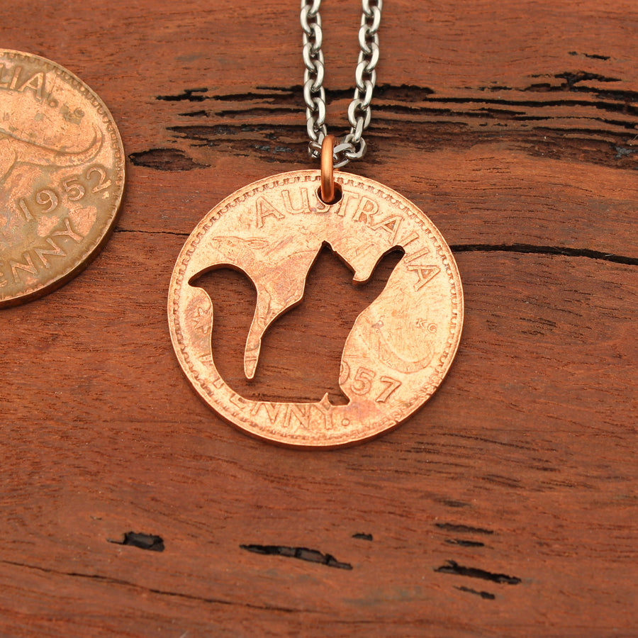Cat Pawing Coin Pendant
