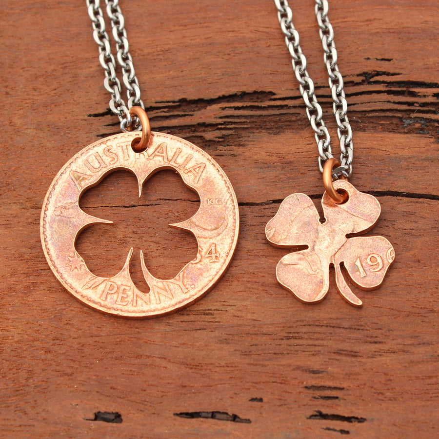 Four Leaf Lucky Clover Coin Pendant