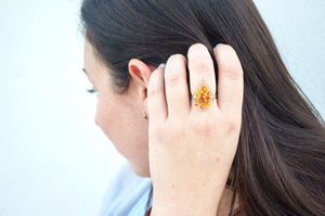 Real Pressed Flower and Resin Ring, Gold Teardrop in Teal and Blue
