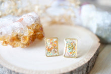 Load image into Gallery viewer, Real Pressed Flowers and Resin Stud Earrings, Gold Rectangle in Orange Yellow Pink Mint