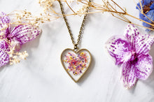 Load image into Gallery viewer, Real Pressed Flower and Resin Heart Necklace in Red, Pink, Yellow, and Purple Mix
