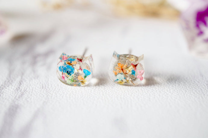 Real Pressed Flowers and Resin Cat Stud Earrings in Party Mix