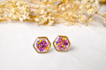 Load image into Gallery viewer, Real Pressed Flowers and Resin Stud Earrings, Gold Hexagon in Purple Pink Yellow