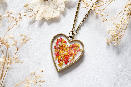 Real Pressed Flowers in Resin Heart Necklace in Red Yellow Mix