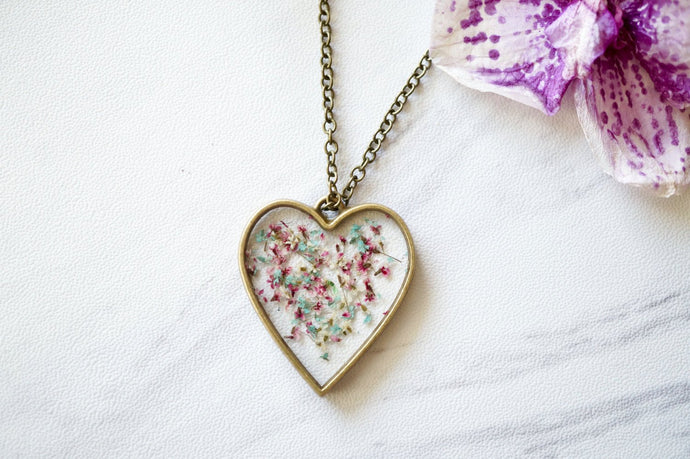 Real Pressed Flowers in Resin Heart Necklace in Mint Pink White