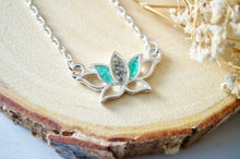 Load image into Gallery viewer, Real Pressed Flowers and Resin Necklace Silver Lotus Flower in Teal and Deep Purple