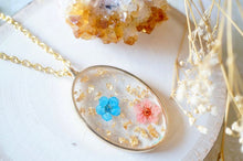 Load image into Gallery viewer, Real Pressed Flower and Resin Necklace Gold Oval in Blue Pink and Gold Foil Flakes