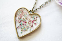 Load image into Gallery viewer, Real Pressed Flowers in Resin Heart Necklace in Mint Pink White