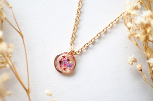 Real Pressed Flowers in Resin Necklace, Small Rose Gold Circle in Pinks and Purple