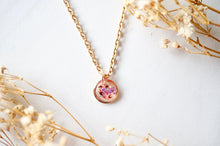 Load image into Gallery viewer, Real Pressed Flowers in Resin Necklace, Small Rose Gold Circle in Pinks and Purple