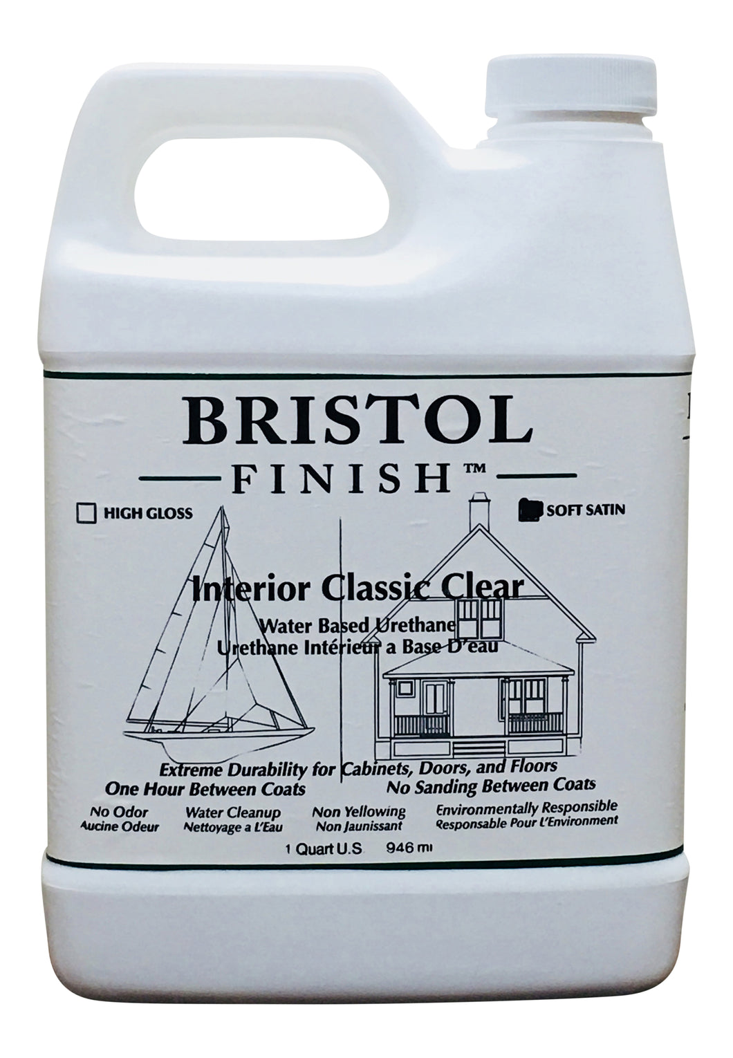 Bristol Finish Interior Classic Clear Water Based Urethane - Soft Satin Finish Quart