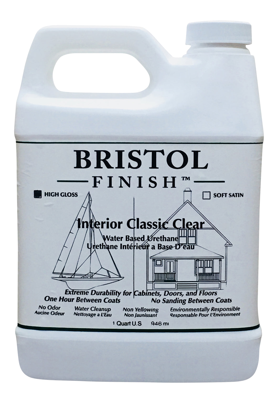 Bristol Finish Interior Classic Clear Water Based Urethane - High Gloss Finish Quart