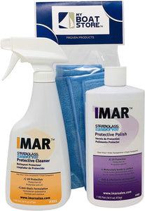 MyBoatStore Bundle Includes Imar 301 Strataglass Cleaner, an Imar 302 Polish and a Microfiber Detailing Cloth. Bundle has 3 Total Items