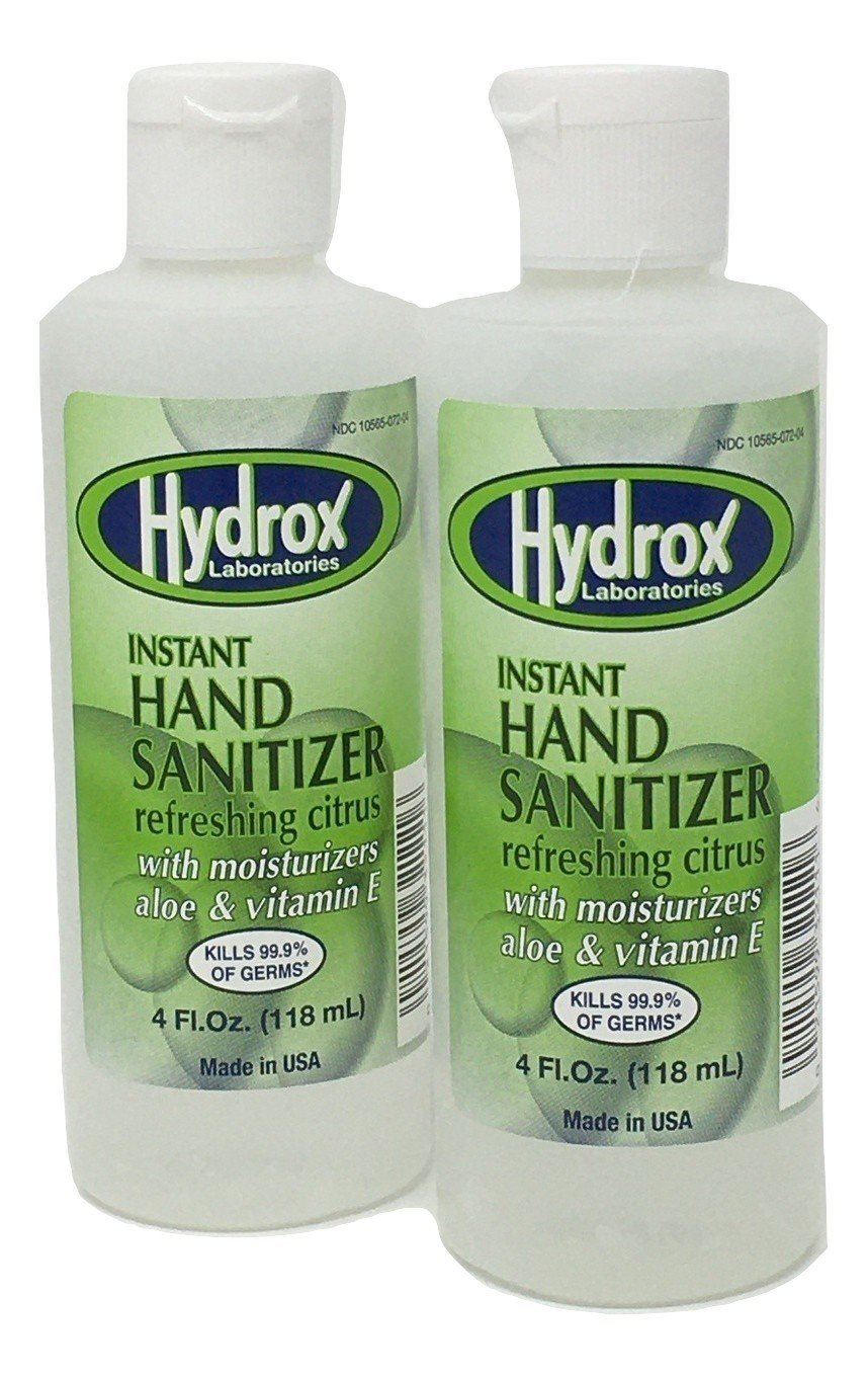 Instant Hand Sanitizer (2 Bottles) - Refreshing Citrus - 4 Ounce Gel