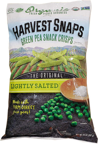 Harvest Snaps Green Pea Snack Crisps organic packaged late night snack