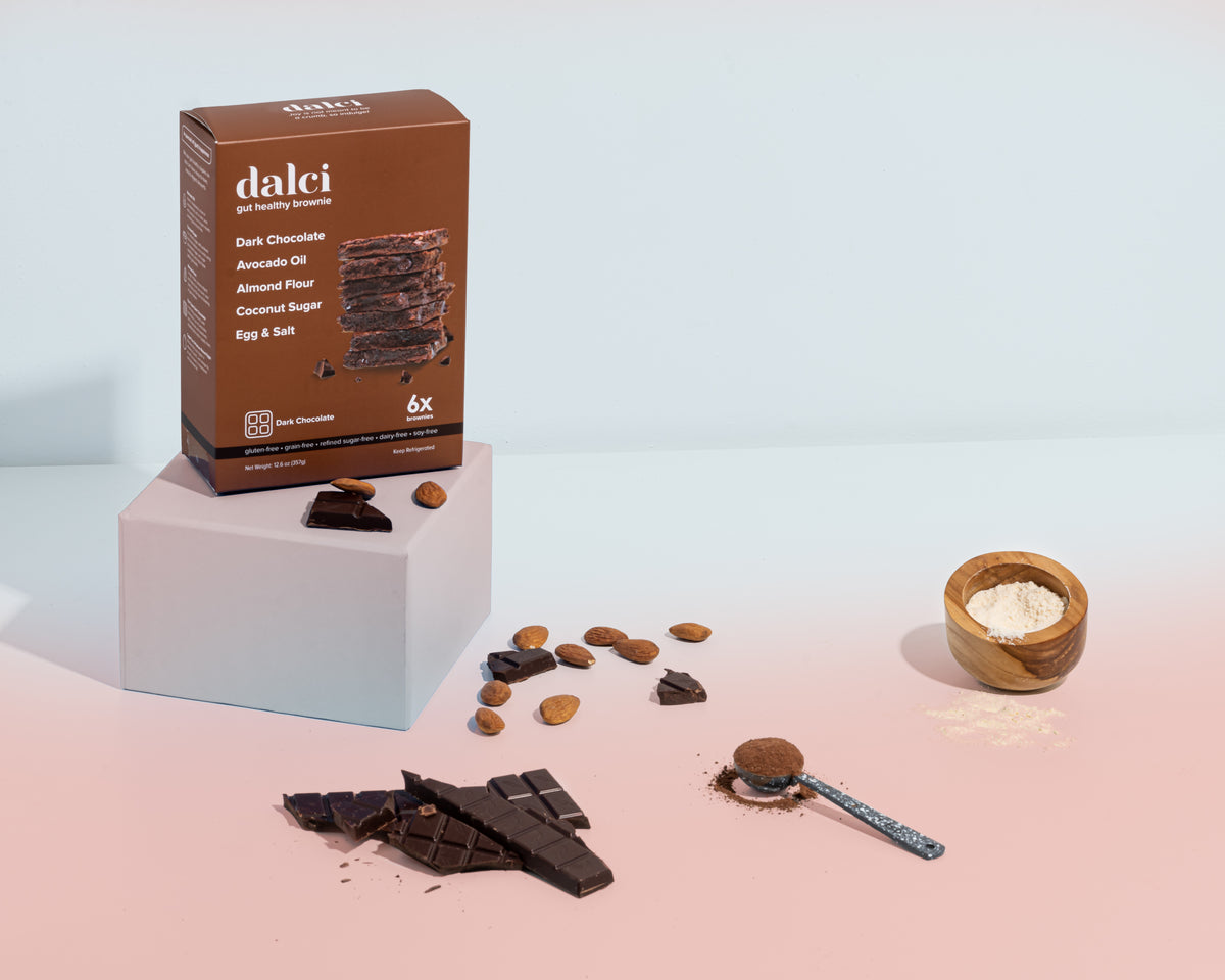 dark chocolate dalci grain-free, gluten-free, refined sugar-free brownie