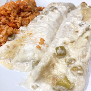White Chicken & Cheese Enchiladas with Mexican Rice