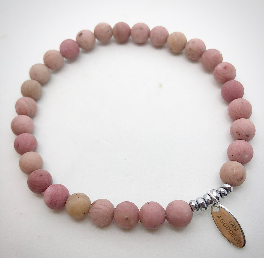 rhodonite I am a goddess semi precious natural stone bracelet