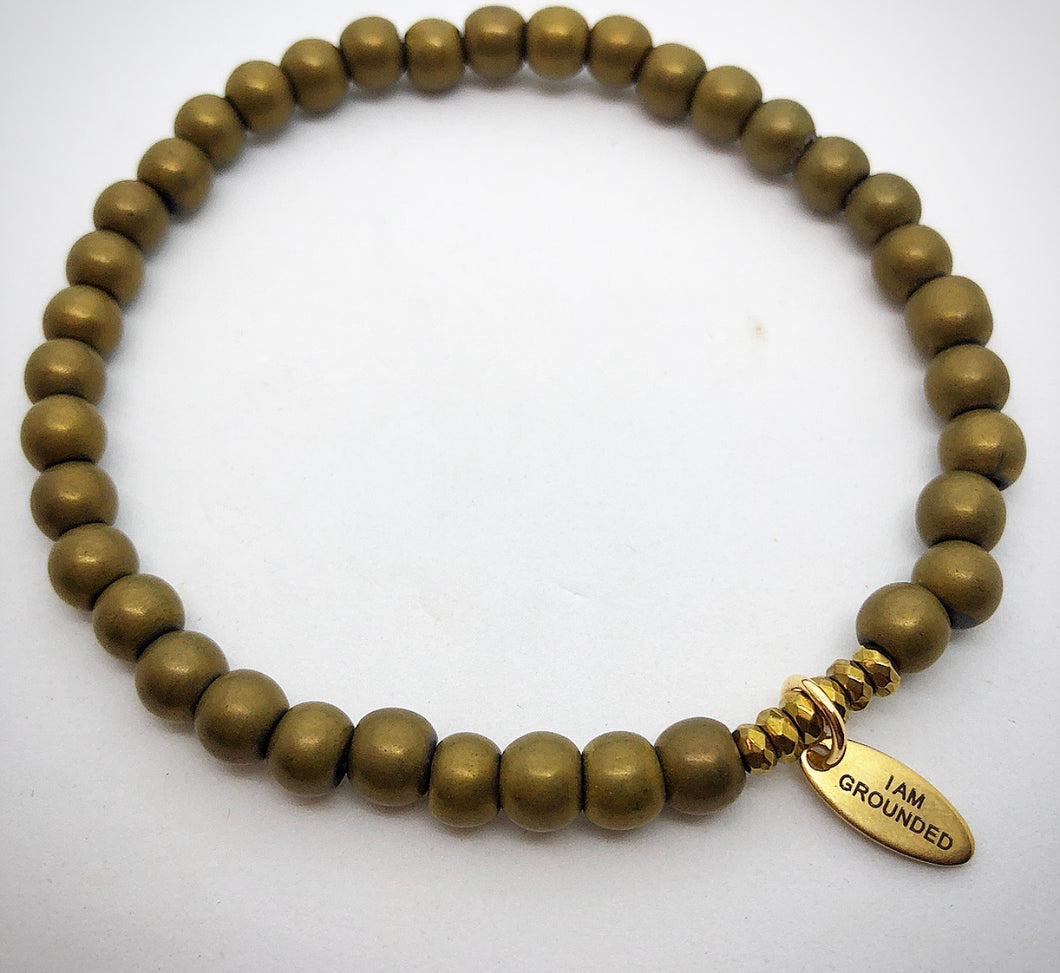 matte gold hematite semi precious stone bracelet I am grounded