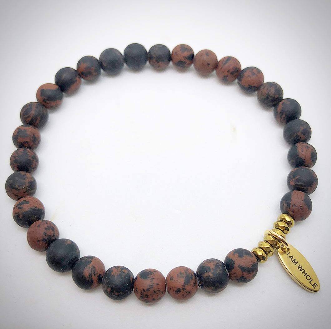 red jasper semi precious stone bracelet gold I am whole