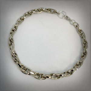 Thick Chain Mail Necklace in Silver