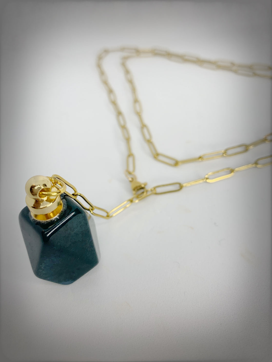 RAW COLLECTION - Jade Stone Essential Oil Bottle on Gold Link Chain (Adjustable)
