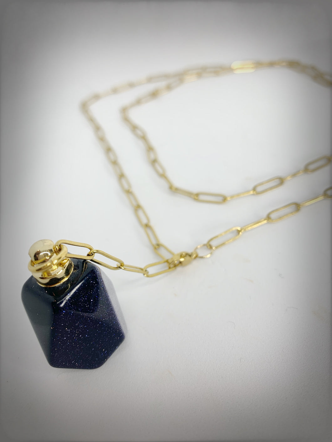 RAW COLLECTION - Bluestone Stone Essential Oil Bottle on Gold Link Chain (Adjustable)