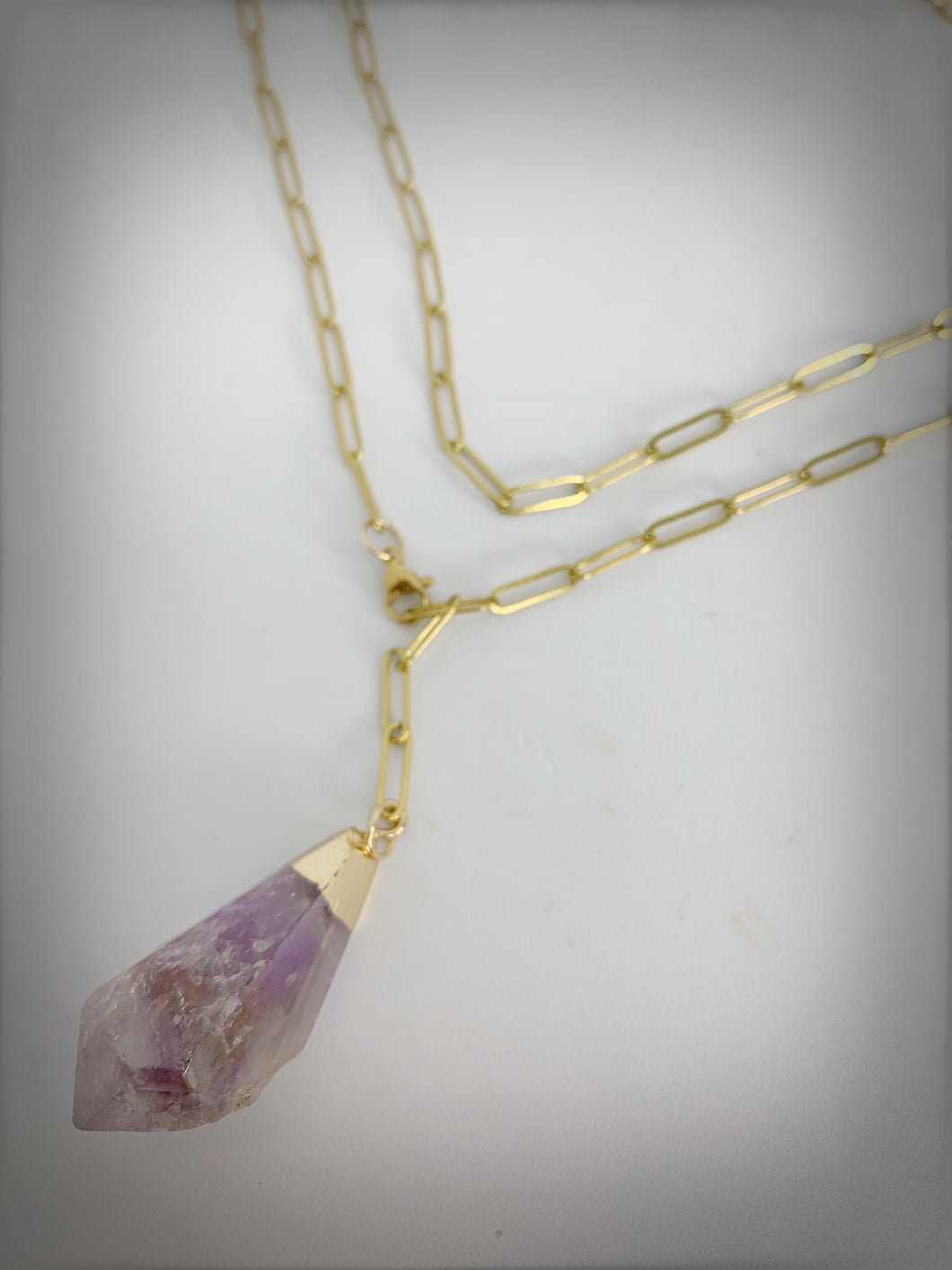 RAW COLLECTION - Amethyst Stone on Gold Link Chain (Adjustable)