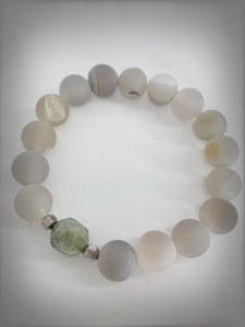 RAW COLLECTION - Laborodite Polygon Stone with Grey Agate Druzy Beads