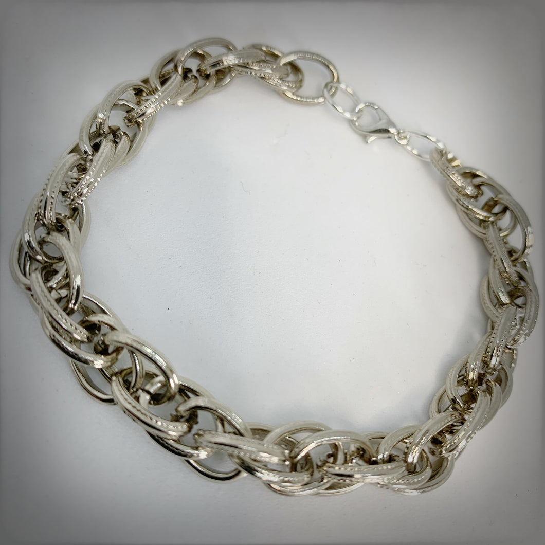 Chain Mail Bracelet in Thick - Silver