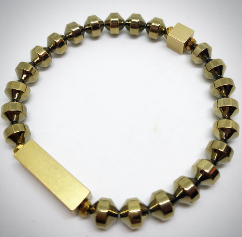gold hematite bar bracelet semi precious natural stone