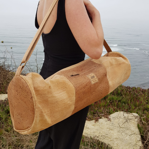 Cork Yoga Mat Bag, yoga, Cork fabric, Handmade in Portugal, Sustainable fabrics