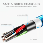Fast Charging Magnetic LED Flowing  Cable 3 type of plugs - Up-to-the-minute