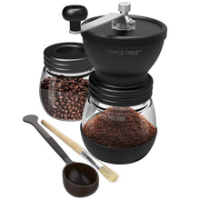 Load image into Gallery viewer, Manual Coffee Grinder with Ceramic Burrs, Hand Coffee Mill with Two Glass Jars(11oz each), Brush and 2 Tablespoon Scoop