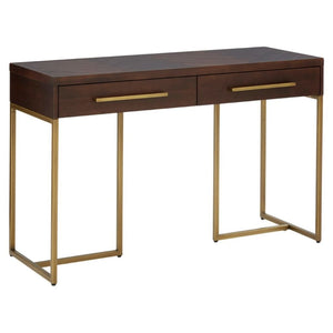 Alexa Acacia Wood and Antique Brass Console Table - Console Table