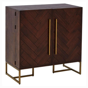 Alexa Acacia Wood and Antique Brass Drinks Cabinet - Drink Cabinet