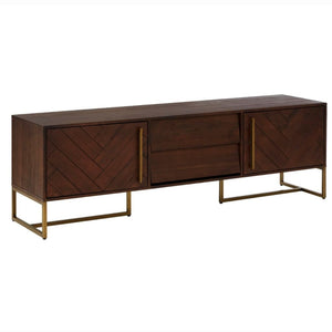 Alexa Acacia Wood and Antique Brass Media Unit - TV Stand