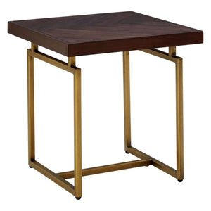 Alexa Acacia Wood and Antique Brass Side Table - side table